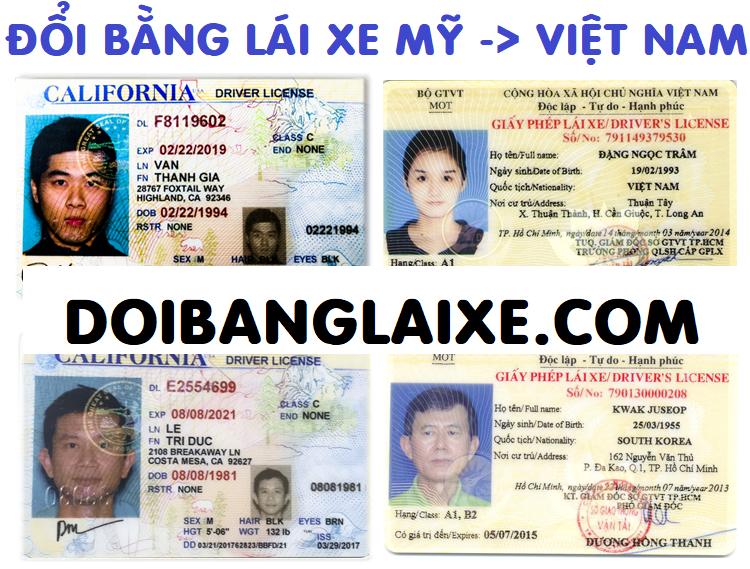 Dịch vụ đổi bằng lái xe Mỹ sang Việt Nam tại Hà Nội, Hồ Chí Minh