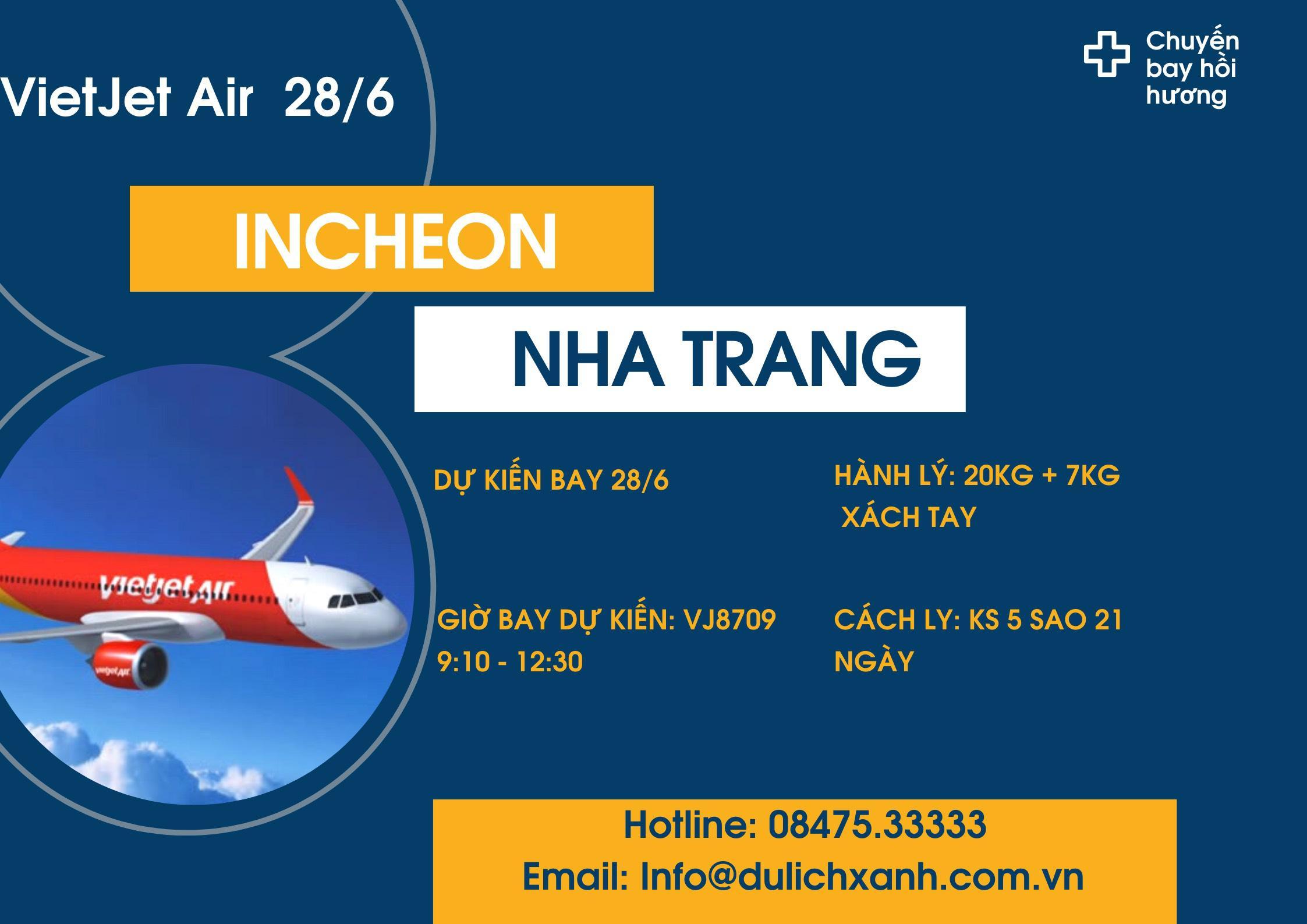Chuyến bay hồi hương Incheon - Nha Trang ngày 28/6