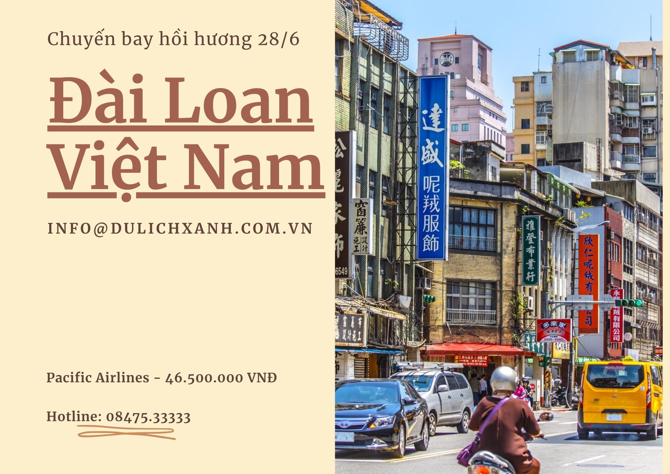 Các chuyến bay từ Đài Loan về Việt Nam tháng 6