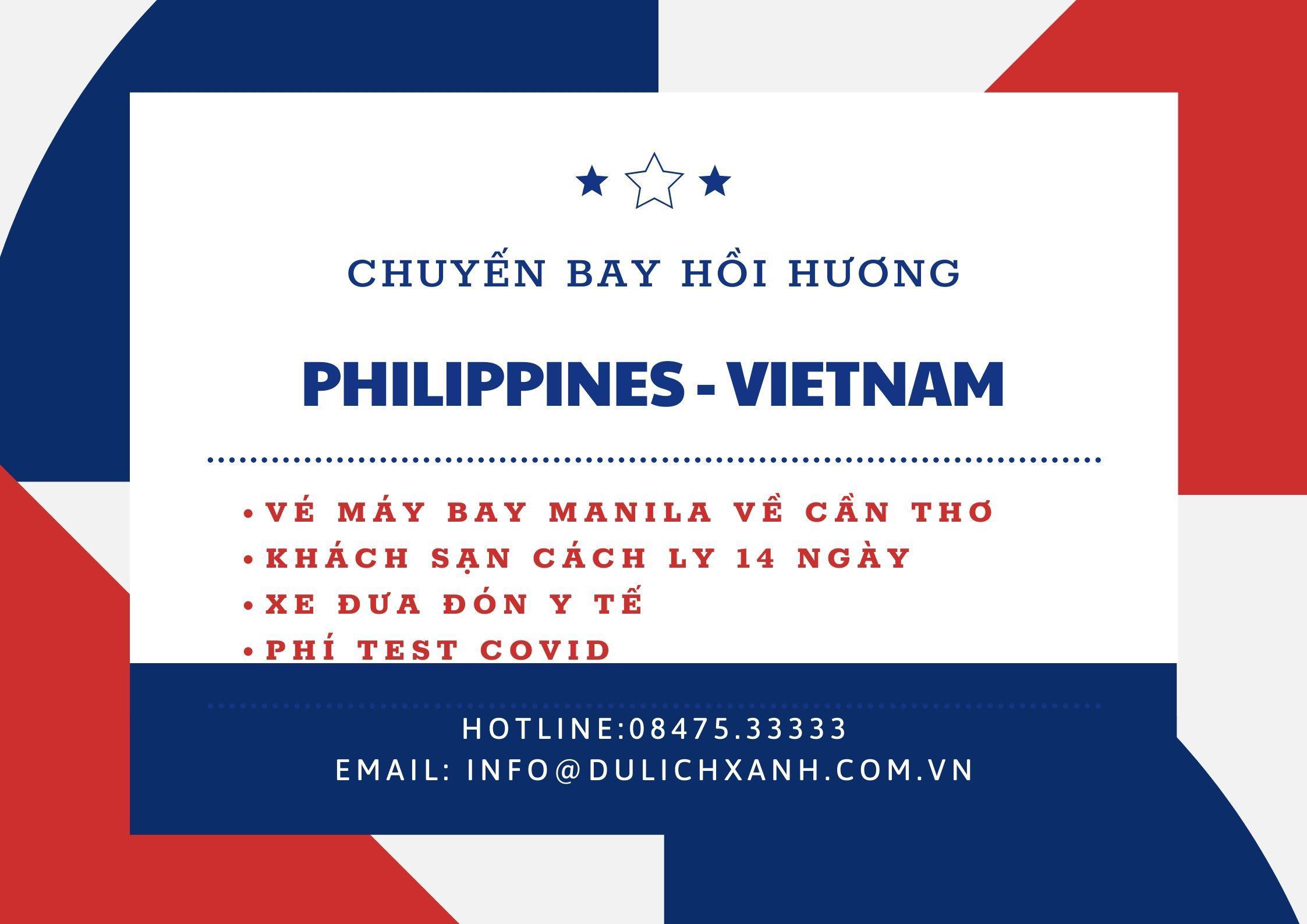 Lịch bay mới nhất từ Philippines về Việt Nam 23/08