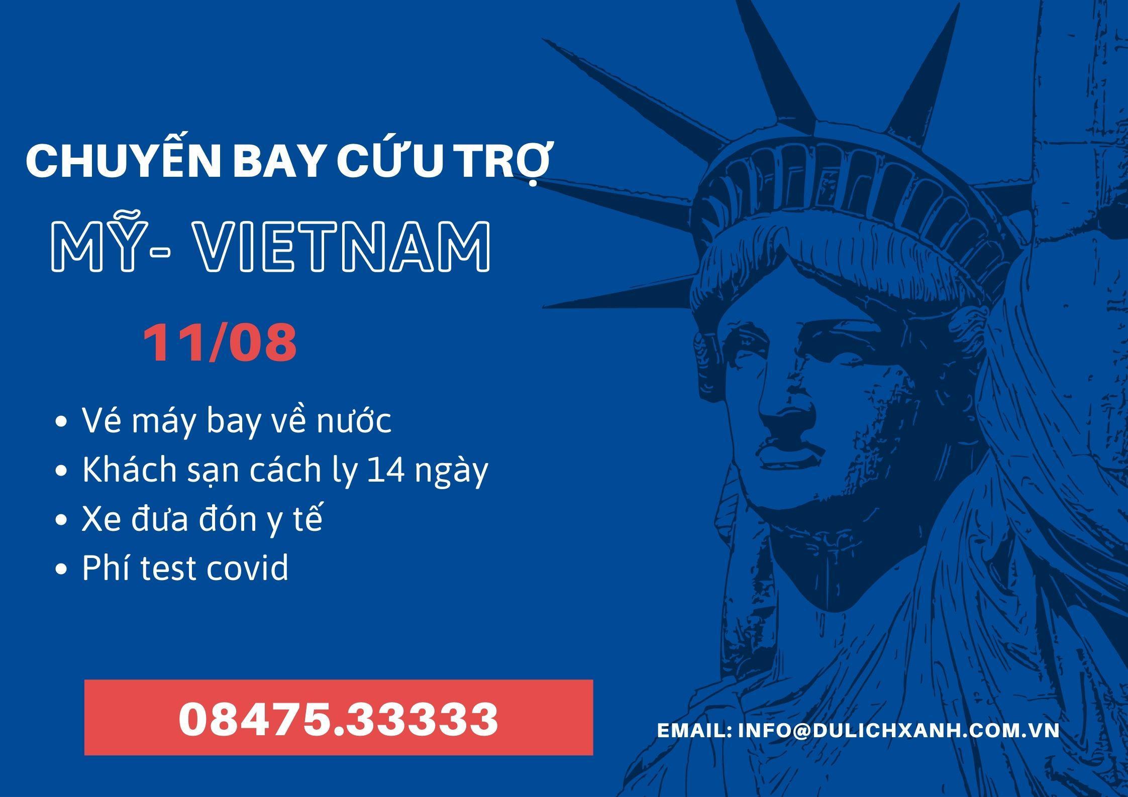 Đặt chuyến bay cứu trợ từ Mỹ về Việt Nam 11/8