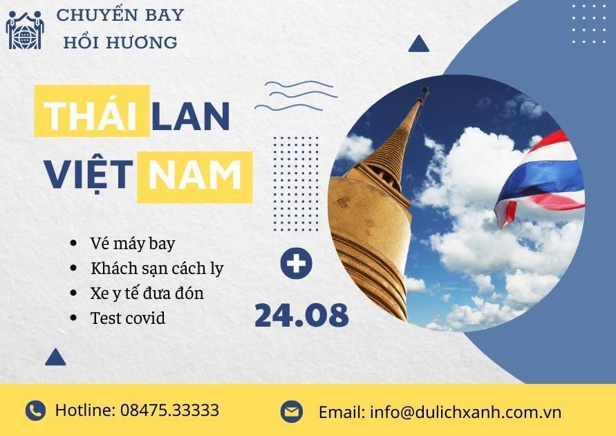 Chuyến bay từ Thái Lan về Việt Nam 24/08