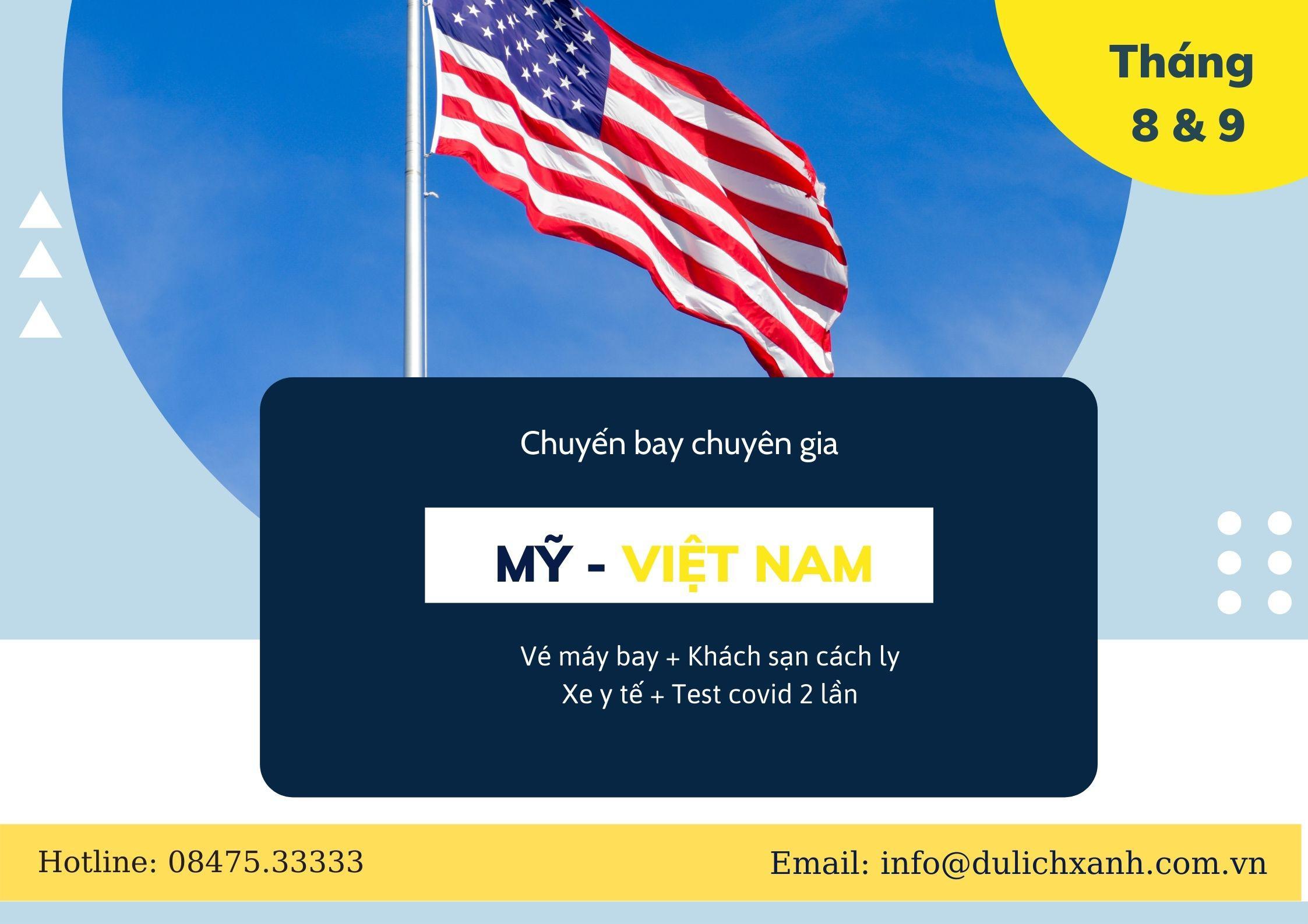 Chuyến bay chuyên gia từ Mỹ về Việt Nam tháng 8 & 9
