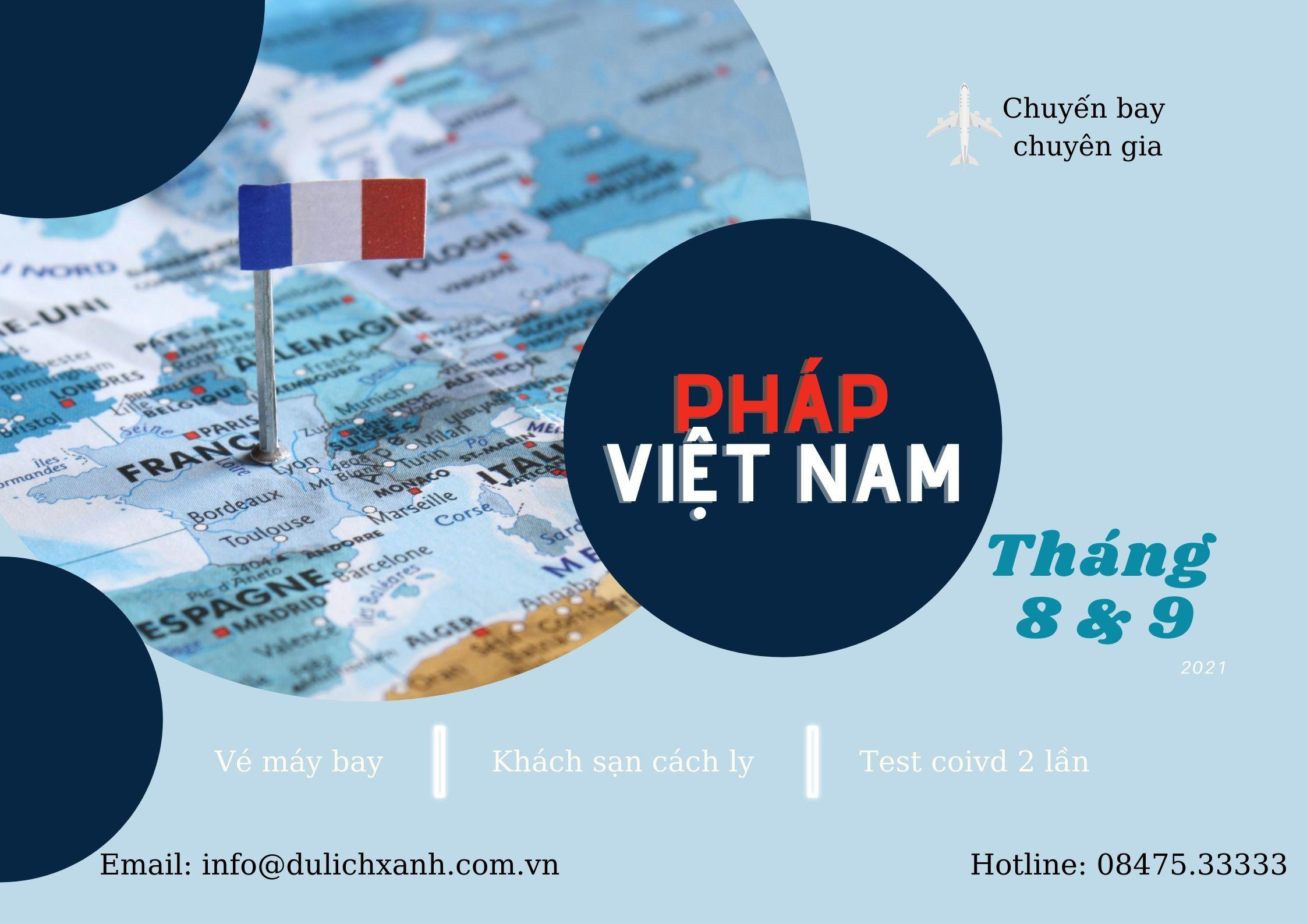 Lịch bay chuyên gia từ Pháp về Việt Nam tháng 8 & 9