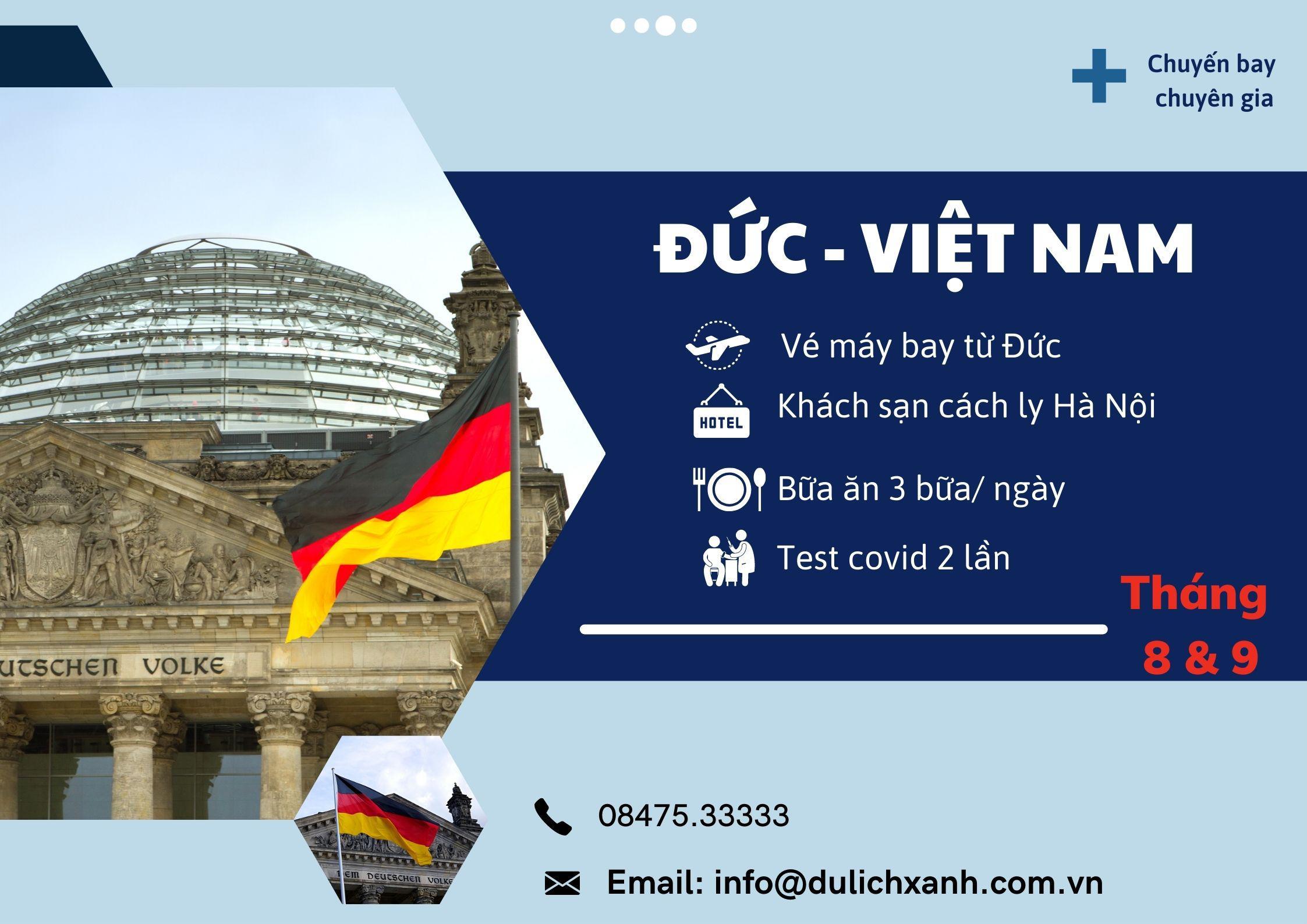 Chuyến bay đón chuyên gia Đức về Việt Nam tháng 8 & 9