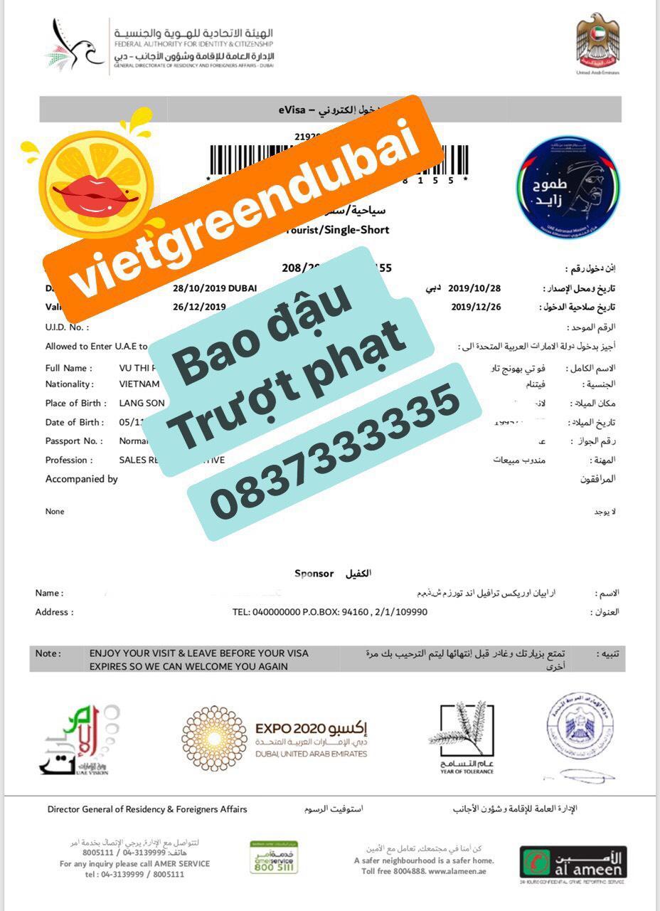 Dịch vụ làm visa Dubai du lịch 14 ngày - Bao đậu