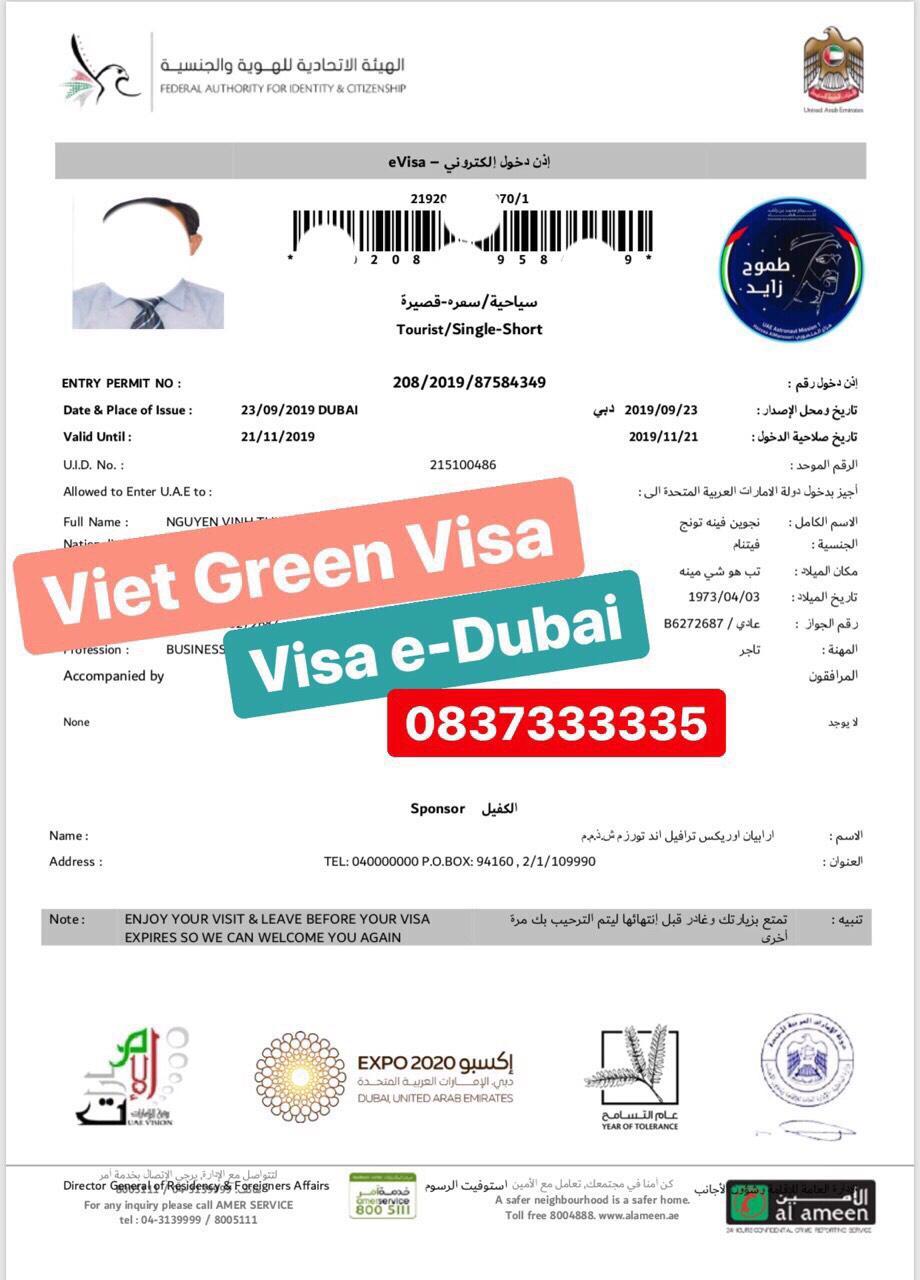 Dịch  vụ visa Dubai lưu trú 30 ngày tại Hà Nội, Hồ Chí Minh
