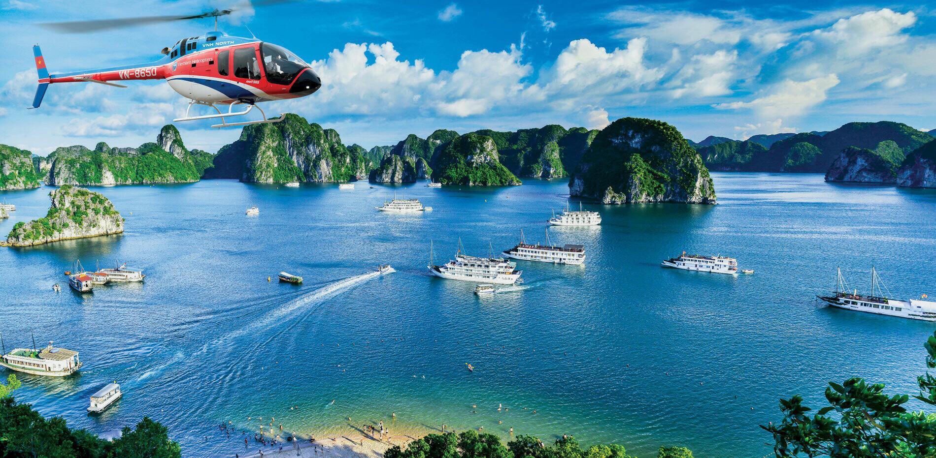 Tour du Lịch Trực thăng ngắm cảnh Vịnh Hạ Long 12 phút