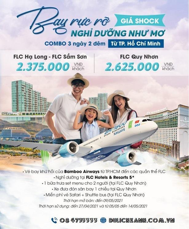 Combo bay Bamboo Aiways và Ngủ FLC Quy Nhơn, Sầm Sơn, Hạ Long 2 đêm giá chỉ từ 2,300,000 đồng